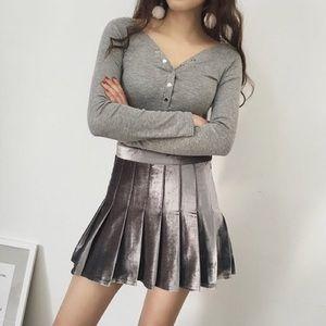 Grey Velvet Pleated Tennis Mini Skort Skirt